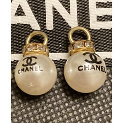 Chanel Stamped Button set of 2 Pearl  rhinestone 12mm