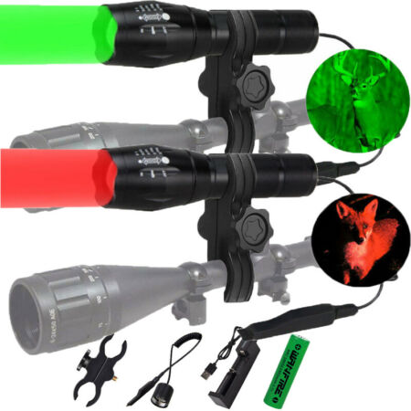 img-Tactical Green Red Light LED Flashlight Torch Lamp Rifle Hunting Shooting Mount
