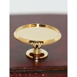 Dollhouse Miniature Pedestal Cake Server in Gold by Clare-Bell Brass