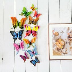 12Pcs home wall deco beautiful 3D double layer pteris butterfly magnet stickers
