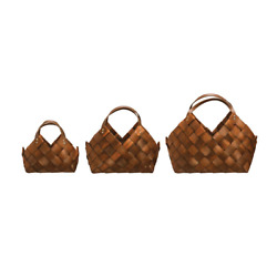 Creative Coop DF1958 Brown Seagrass Decorative Baskets Leather Handles Set of 3