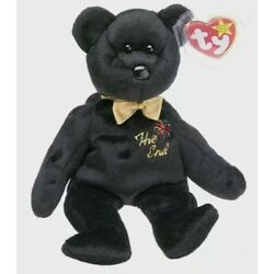 ???? The End Black Bear - TY Beanie Baby Retired Rare Mint Tags MWMT Pe Pellets