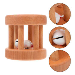 1Pc Wooden Rattle Rolling Toy Fine Smooth Early Education Toy Kid Plaything Gift