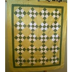 Nice Antique 9 Patch Quilt Yellow Green White