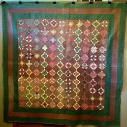 Fine Antique Pieced Stars Quilt As Is Browns Greens Reds Yellow