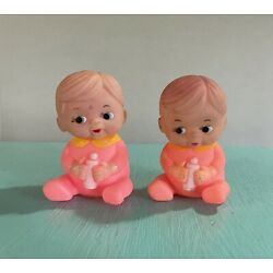 """Lot 2 Vintage 4.5"""" Baby Girl Boy Squeaky Rubber Play Bath Toys Pink W/ Bottle"""