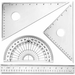 Geometry Set 12 Inch Math Geometry Tool 4 Pieces Large Triangular Scale Ruler