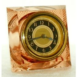 Rare Vintage New Haven PINK GLASS Time-Only Clock ca. 1937-1941