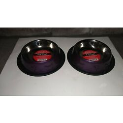 ProSelect Dog Bowl Bone and Paw Embossed Stainless Steel Purple Set of 2