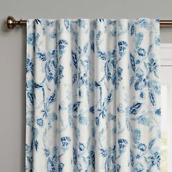 THRESHOLD Target Window Curtain Panel 84'' L Blue White Stamped Floral Blackout