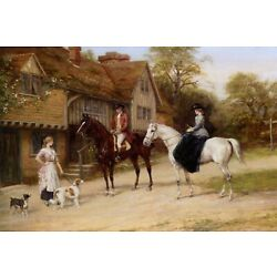 The Gamekeeper's Daughter Dogs Horse Riding  By Heywood Hardy Art Repro FREE S/H