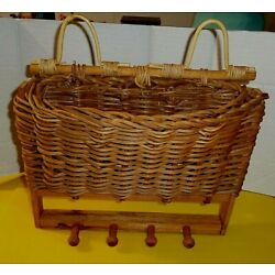 Hand Made Wall Hanging Pocket Basket With Pegs Decor Grapevine Handle Farmhouse