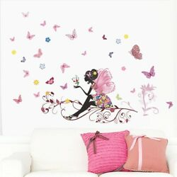 Butterfly Wall Stickers Flower Fairy Kids Room Wall Decoration Bedroom Wall Arts