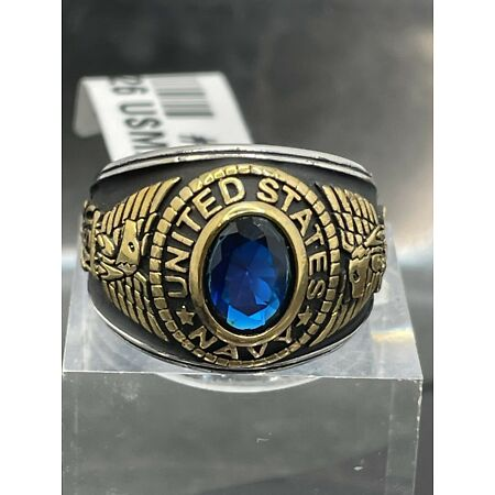 img-Mens Navy ring stainless steel usa sapphire 18kt gold blackened military