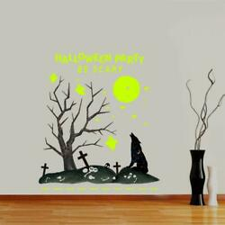 Halloween Wolf Moon Wall Stickers Decals Party Decorations Glow in the Dark NEW