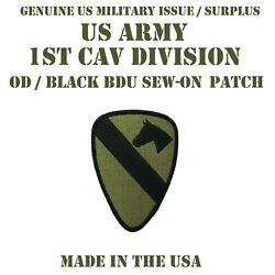 US ARMY AIR MOBILE 1ST CAV DIV PATCH CAVALRY DIVISION UNIFORM BDU SUBDUED OD BLK