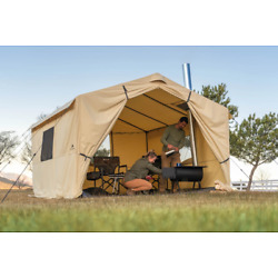 Luxury Outdoor 6 Person Wall Tent 12' X 10' With PVC Floor & Stove Jack Camping