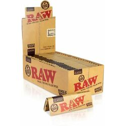 Raw Classic Single Wide Size Natural Unrefined Rolling Paper Single Feed 18 Pack