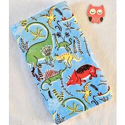 Handcrafted, Blue Dinosaurs Flannel Print & White Minky Bubble Baby Burp Cloth