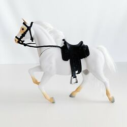 Interactive White Horse Toy With Black Saddle By Lanard 2002 - 28 cm