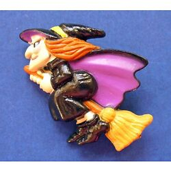 Russ PIN Halloween Vintage WITCH Flying BROOM Holiday Brooch