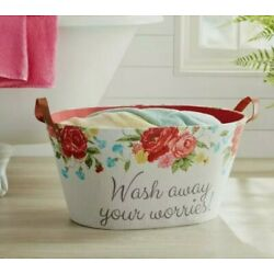 Oval Laundry Basket in Stylish ~Sweet Rose ~RARE ~Hamper Pioneer Woman New