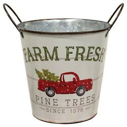 New Farmhouse Country VINTAGE RED TRUCK CHRISTMAS TREE BUCKET Pail Basket