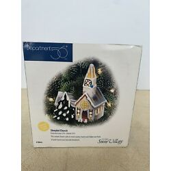 Department 56 Steepled Church Original Snow Village Lighted Ornament RETIRED NEW