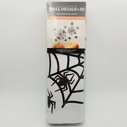 Spider Web & Five 3D Spiders Halloween Wall Decals Assembled size 27.28''×20.68''