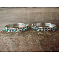 Zuni Indian Sterling Silver Turquoise Hoop Earrings by Cheama