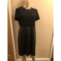 BNWT BLACK SHORT SLEEVED DRESS WITH LEATHER LOOK SKIRT -  SIZE 14