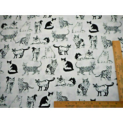Cat Fabric By Half-Yard Realistic Kitty Cat Sketches Black White Premium Cotton
