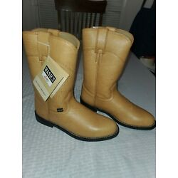Womens Justin Basics 3006 Leather Roper Western Cowgirl Tan Yellow Boots Size 6