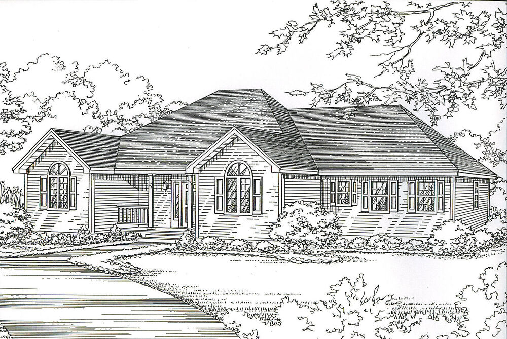 3 bdrm 2 bath 1780 sf hip roof ranch 2 car garage under for Hip roof garage plans