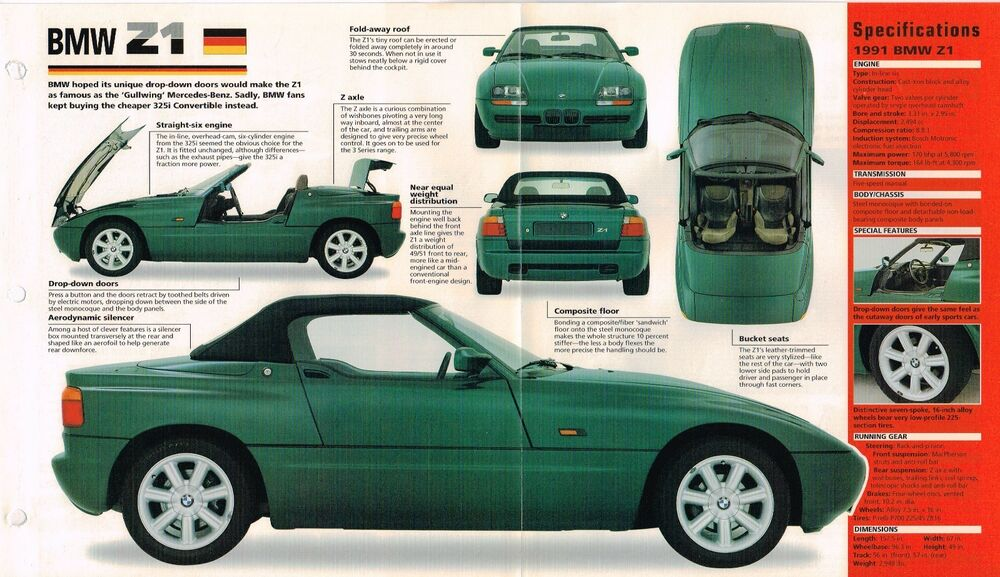 bmw z1 z 1 spec sheet brochure pamphlet catalog 1991 ebay. Black Bedroom Furniture Sets. Home Design Ideas