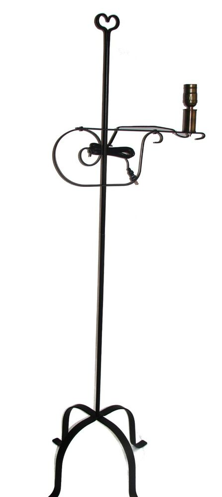hand forged black wrought rod iron floor lamp heart usa. Black Bedroom Furniture Sets. Home Design Ideas