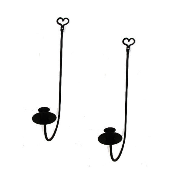 Black Wrought Iron Single Arm Wall Candle Sconces PAIR Heart Country Farmhouse eBay