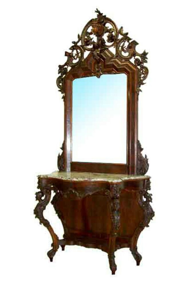 Victorian Mahogany Marble Top Pier Table Amp Mirror 6225 Ebay