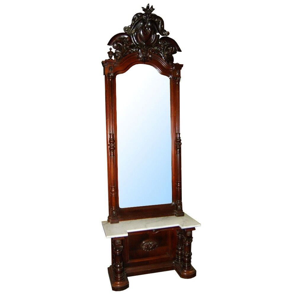 Magnificent Victorian Carved Walnut Marble Top Pier Mirror