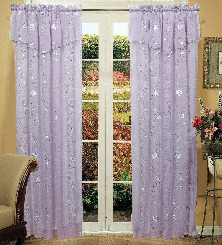 Daisy Embroidery Window Curtain Panel 2PCS Lavender NEW