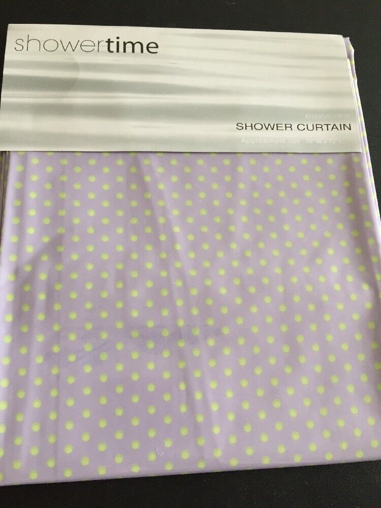 Lavender Purple And Lime Green Polka Dots Vinyl Shower