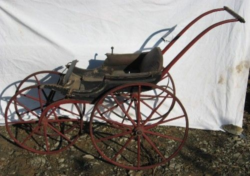 Antique Baby Carriage Stroller Wooden Spoke Wheels Ebay