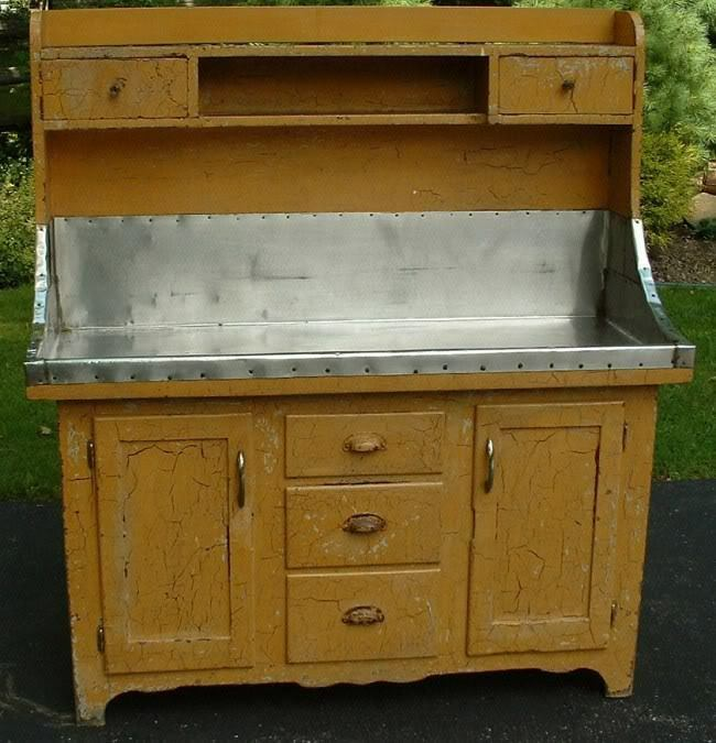 Antique Amish High Back Dry Sink Yellow Crackle Paint Ebay