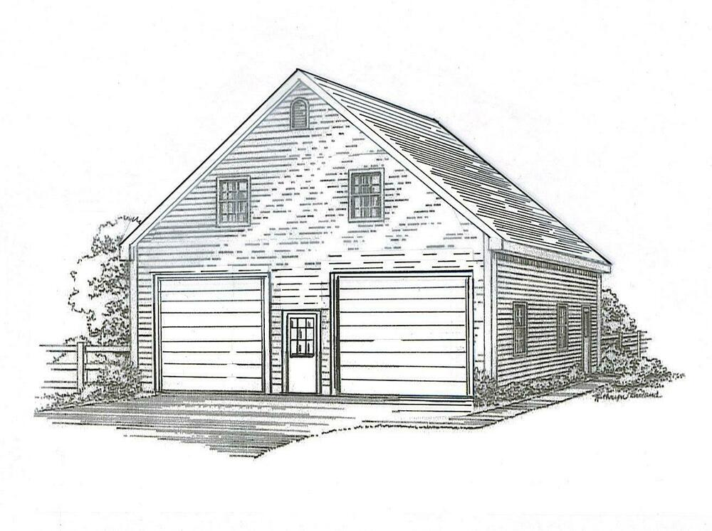 30 x 36 2 stall fg garage building blueprint plans w loft for 30x36 garage plans