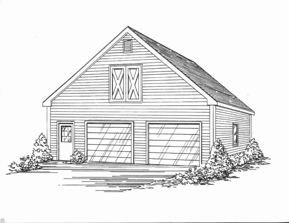 30x32 2 Car Front Gable Garage Building Blueprint Plans