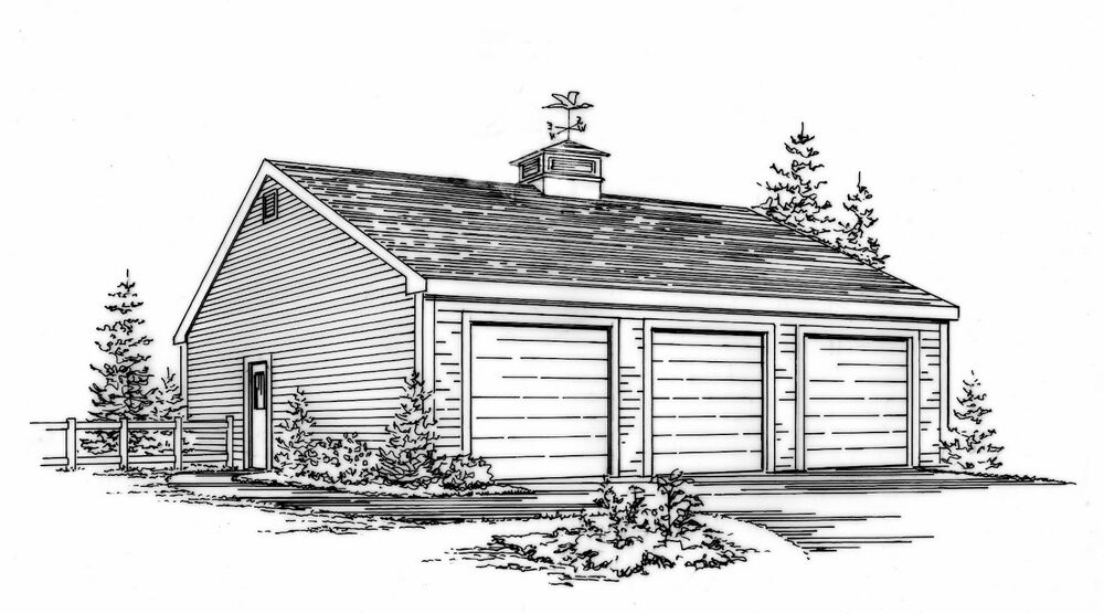 36 x 24 three car garage building plans blueprints ebay Triple car garage house plans
