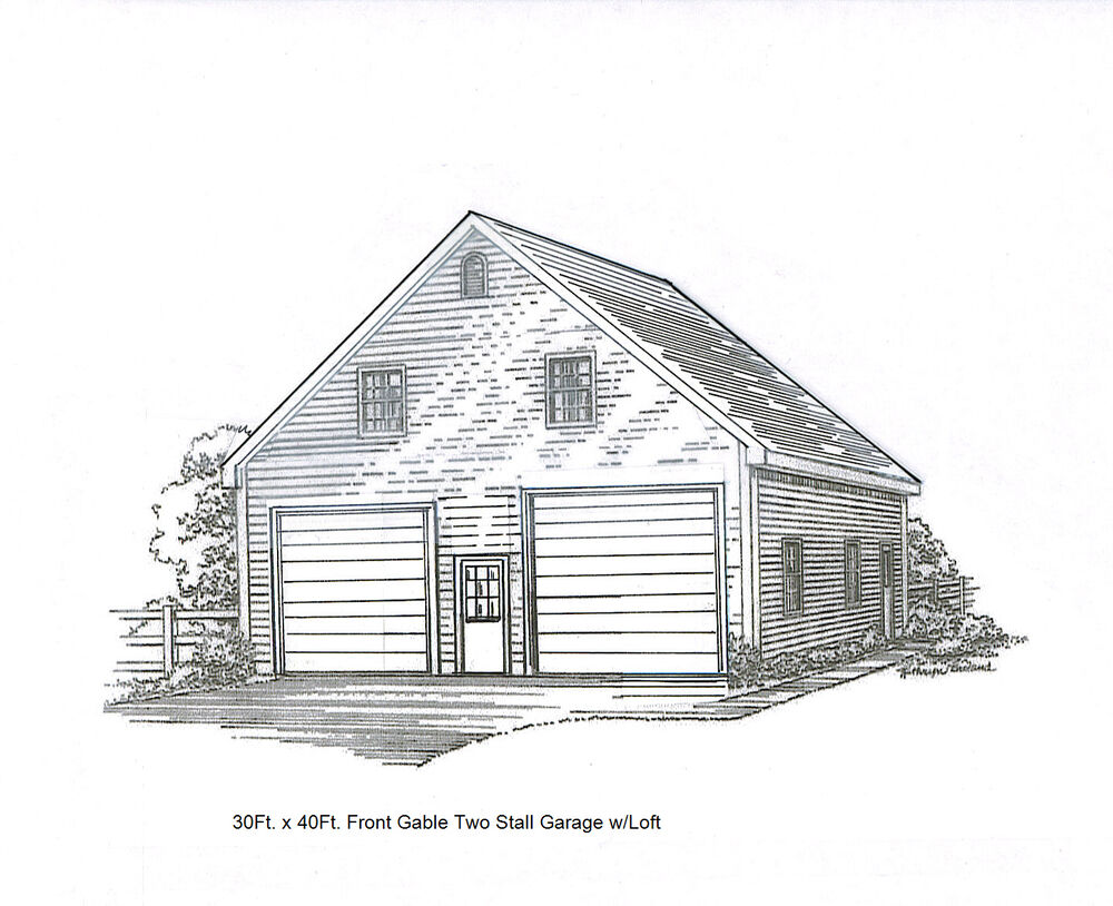 30 x 40 2 stall fg garage building blueprint plans w loft for 30x40 garage layout