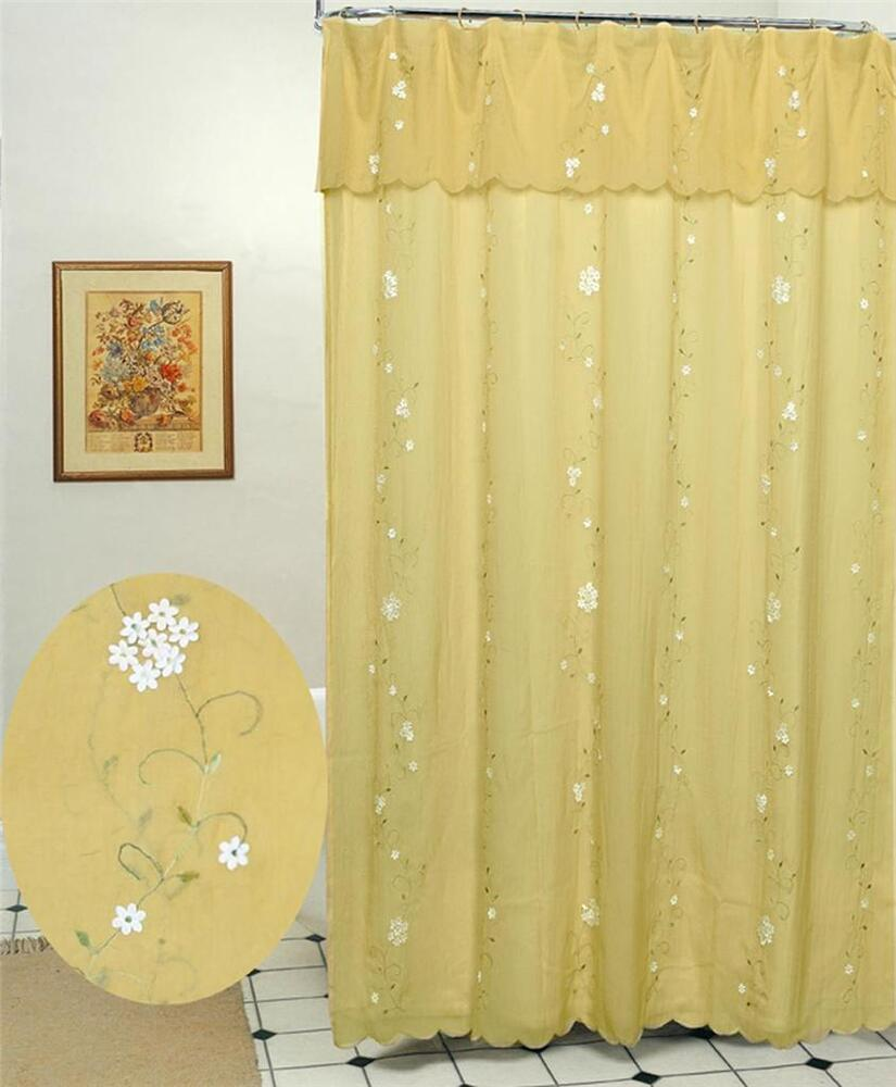 Daisy d embroidery floral fabric shower curtain gold