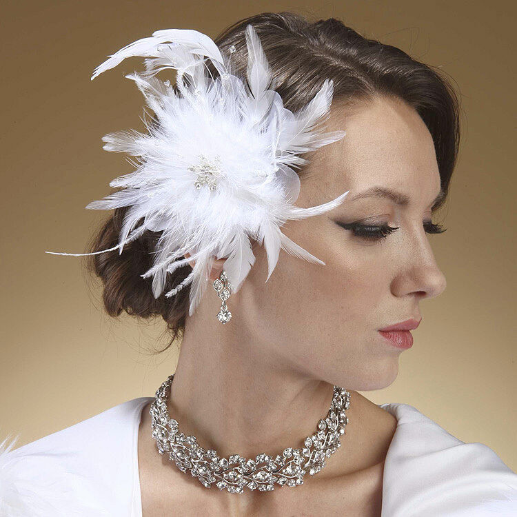 Decorative Hair Clips White Feather Comb Hc270 Bridal