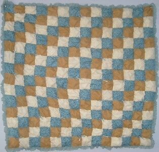 Free Pattern For Baby Puff Quilt : Blue & Brown Baby Boy Puff Biscuit Quilt Kit w/ Pattern eBay